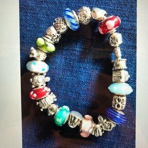 Auth colorful Sterling Silver Pandora Bracelet